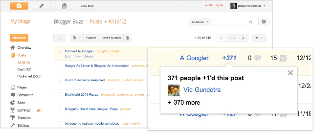 Google Plus One Counter added to New Blogger Dashboard