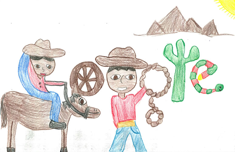 Gloria colored a cowboy and cowgirl with wheels, lassos, saguaro, and snake letters