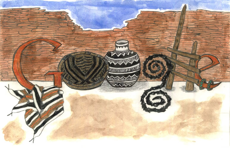 Google spelled with a striped blanket, ceramic pottery, turquoise jewelry, and a pueblo style ladder