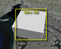 Screenshot - box on map with 128 pixel overlay
