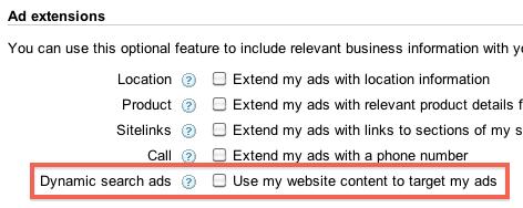 select dynamic search ads