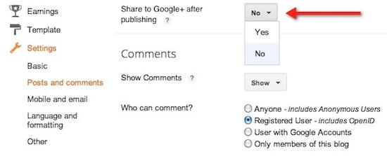 Change share box settings