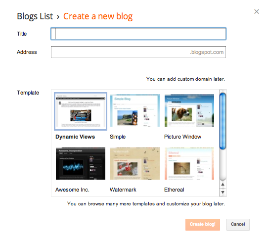 Create a blog button