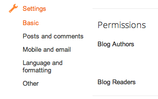 Permissions section