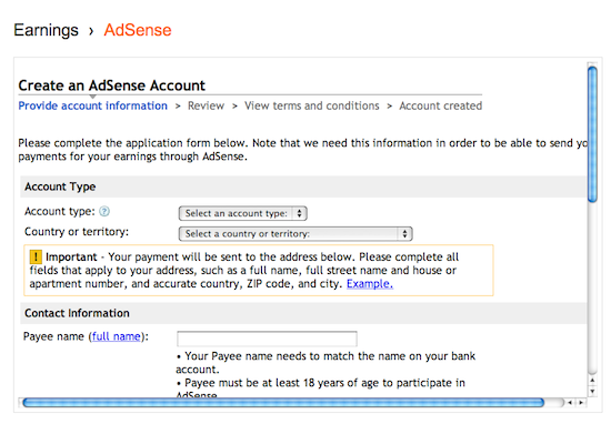 Form for AdSense