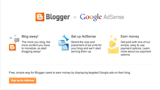 AdSense overview page with orange button