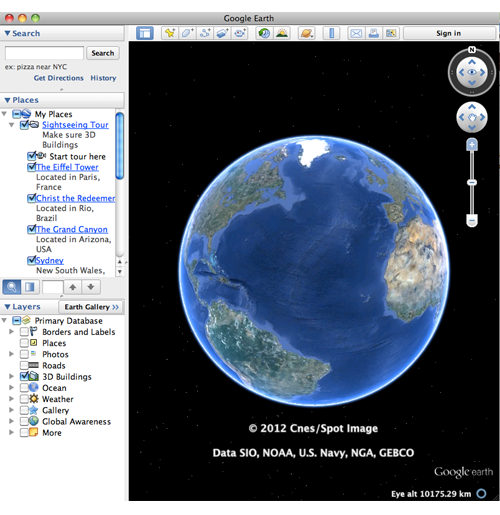 Google Earth 3D viewer