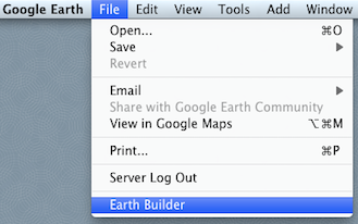 The Earth Builder sign-in option is on the File menu of Google Earth.