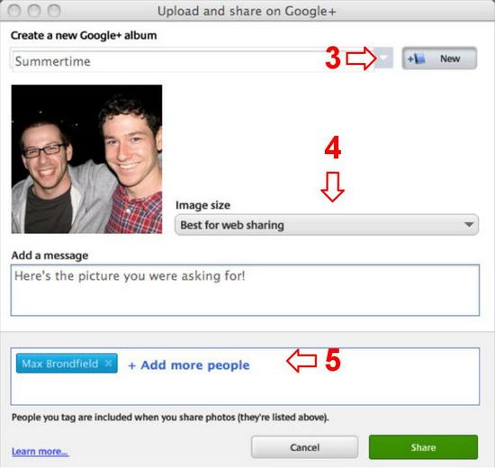 Share your photos with just the right people by adding your Google+ circles, ...