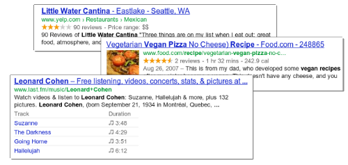Rich snippets for a recipe listing, an event listing, and a music listing