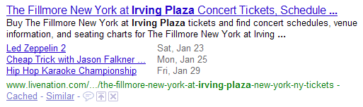 image of a Google rich snippet for an events listing page
