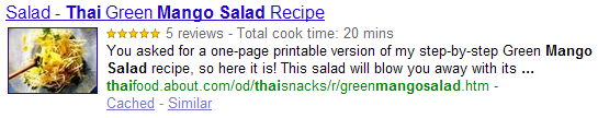 snippet for a recipe marked up with hRecipe format