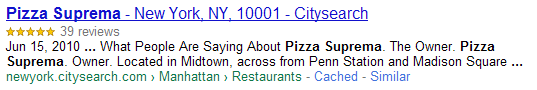 image of a Google rich snippet for an aggregate review of a restaurant