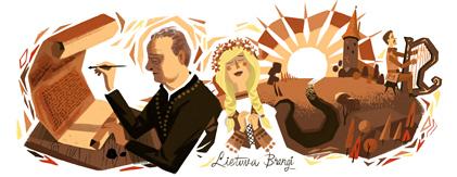 Google Doodle Jonas Maciulis-Maironis' 150th Birthday