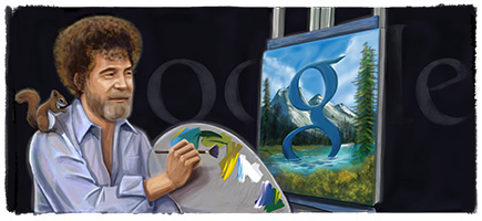 Google Doodle Bob Ross' 70th Birthday