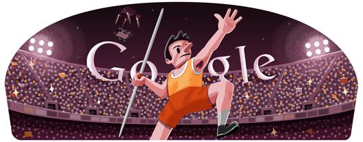 Google Doodle Londýn 2012: Hod oštěpem