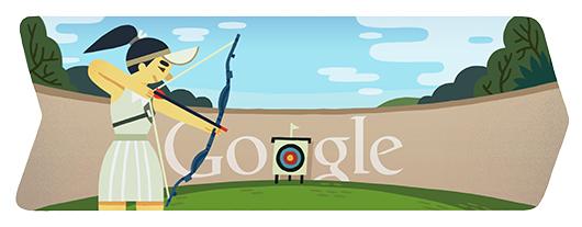 Google Doodle Londýn 2012: Lukostřelba