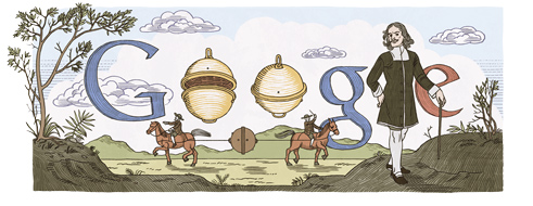 Google Doodle Otto von Guericke's 410th Birthday