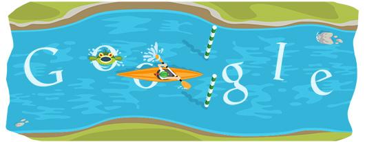 Google Doodle Londýn 2012: Vodní slalom