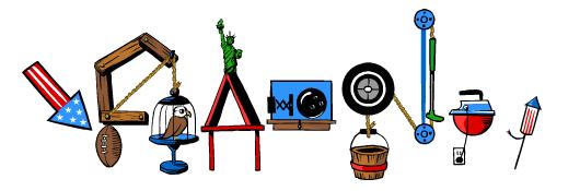Google Logo: Happy 4th of July and Happy Birthday Rube Goldberg!