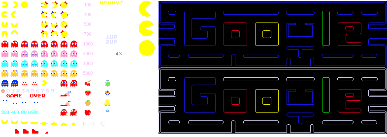 Sprites used by the Pac-Man doodle