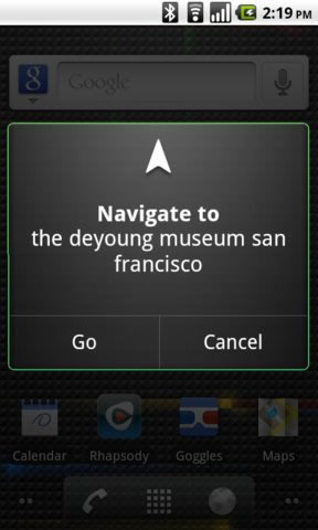 Android Voice Actions Navigate