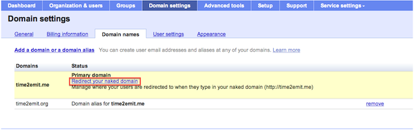 Naked domain redirect link