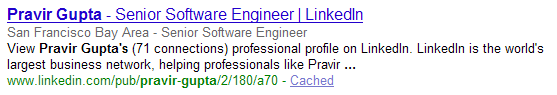 image of a Google search rich snippet representing a person