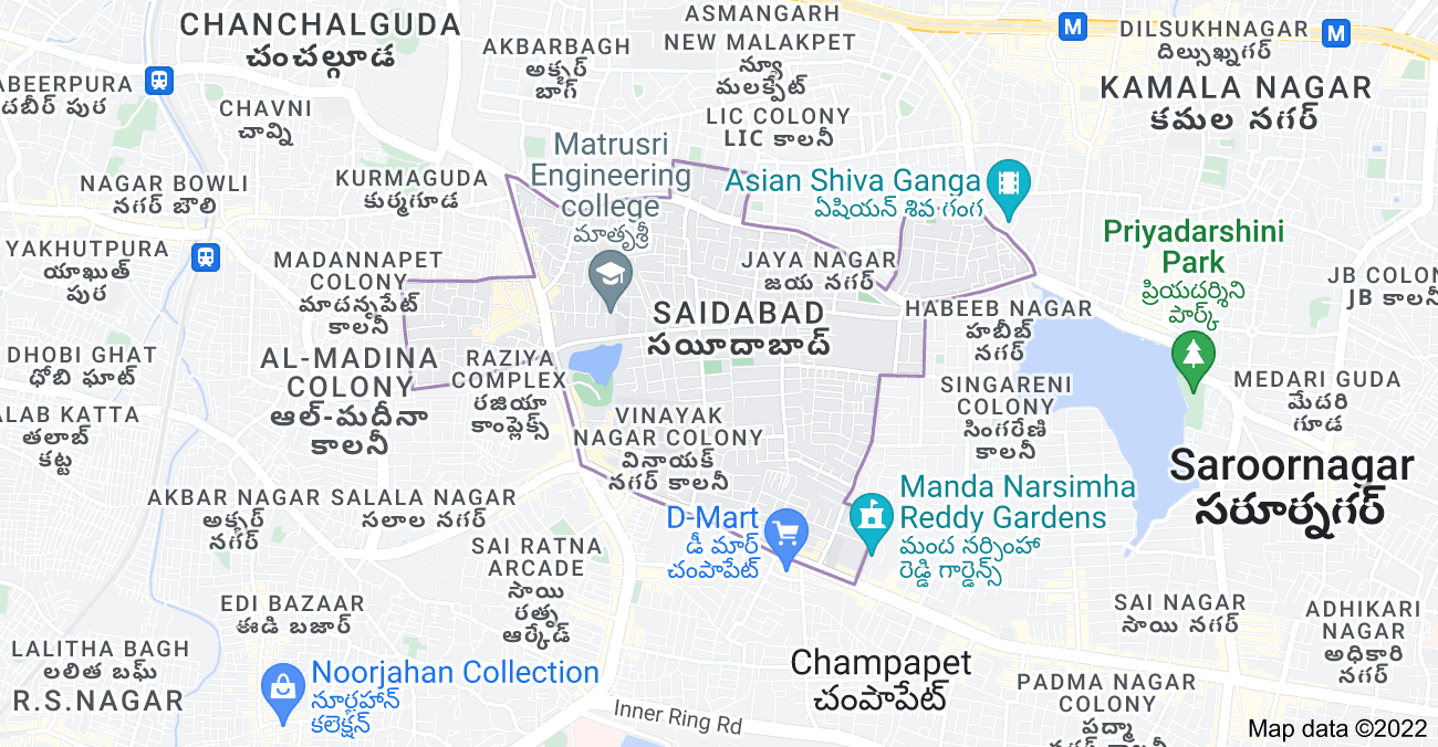 Map of Saidabad, Hyderabad, Telangana 500059, India
