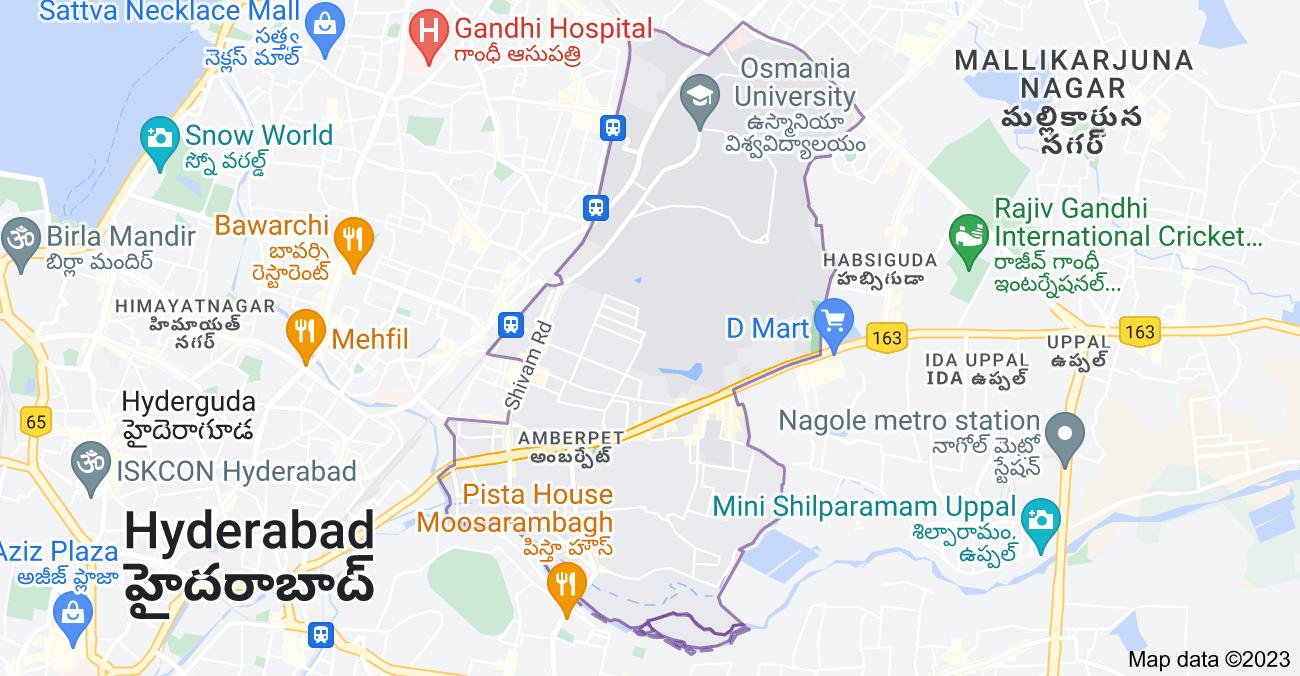 Map of Amberpet, Hyderabad, Telangana, India
