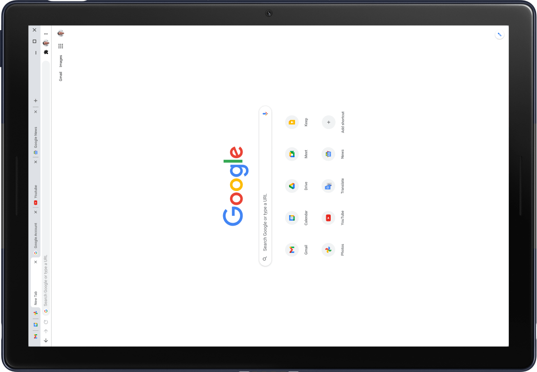 Pixel Slate tablet with screen displaying Google.com.