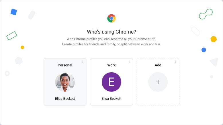 Interfaccia utente del browser Chrome che mostra la schermata di selezione del profilo