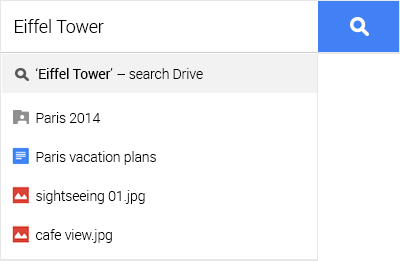 Google Drive search feature example