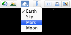 Mars in toolbar