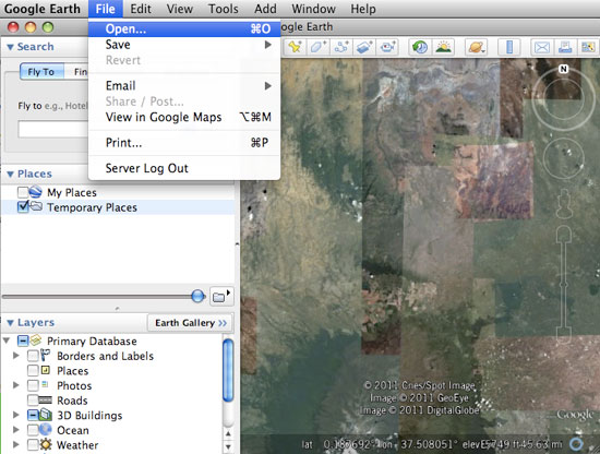 Importing Global Positioning Systems (GPS) data in Google Earth