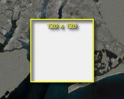 Screenshot - rectangle on map with 128 pixel overlay