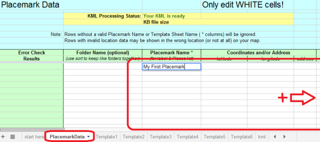 Enter Placemark Names And Locations