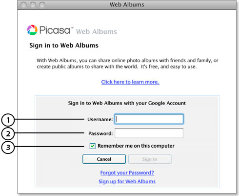 application-specific password Picasa example