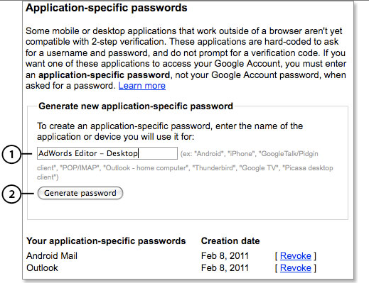 application-specific password creation