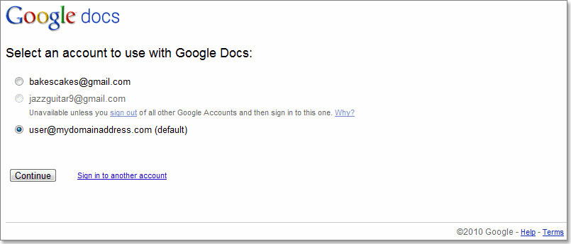 Use multiple sign in with google docs accounts help for Www google docs sign in
