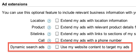 Dynamic Ad Settings