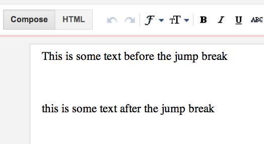 El texto en el que quieres insertar el salto
