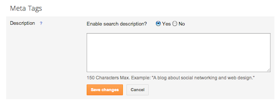 Settings to create a search description on Blogger