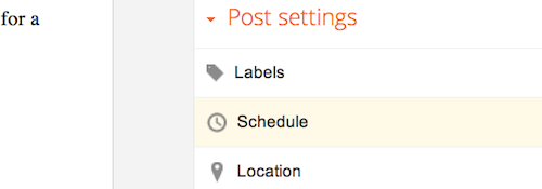 The Schedule option under Post Settings