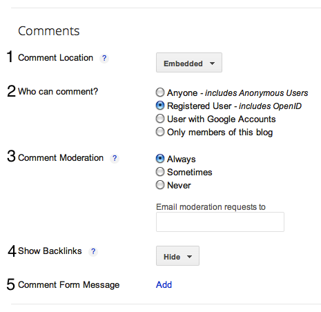 Settings for comments