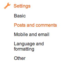 Comments section under Settings