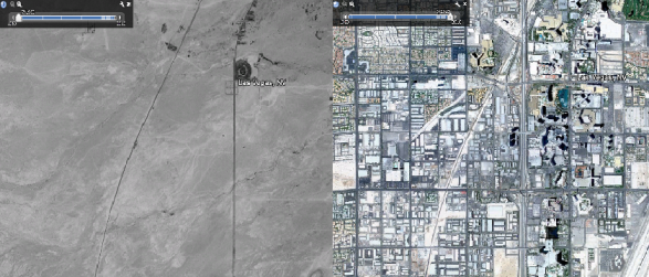 Comparaison de LasVegas en 1950 et en 2010