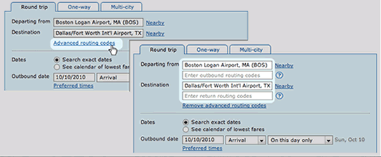advanced routing codes link screenshot