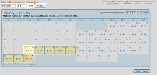 flexible travel dates calender screenshot