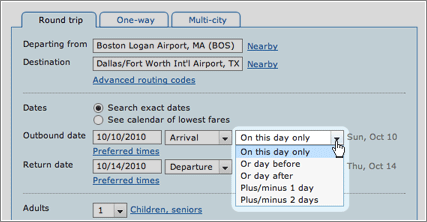 preferred flight dates screenshot